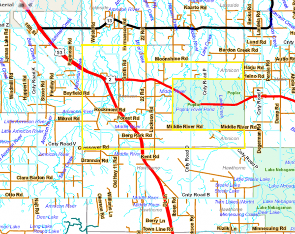 Detailed map Amnicon outline
